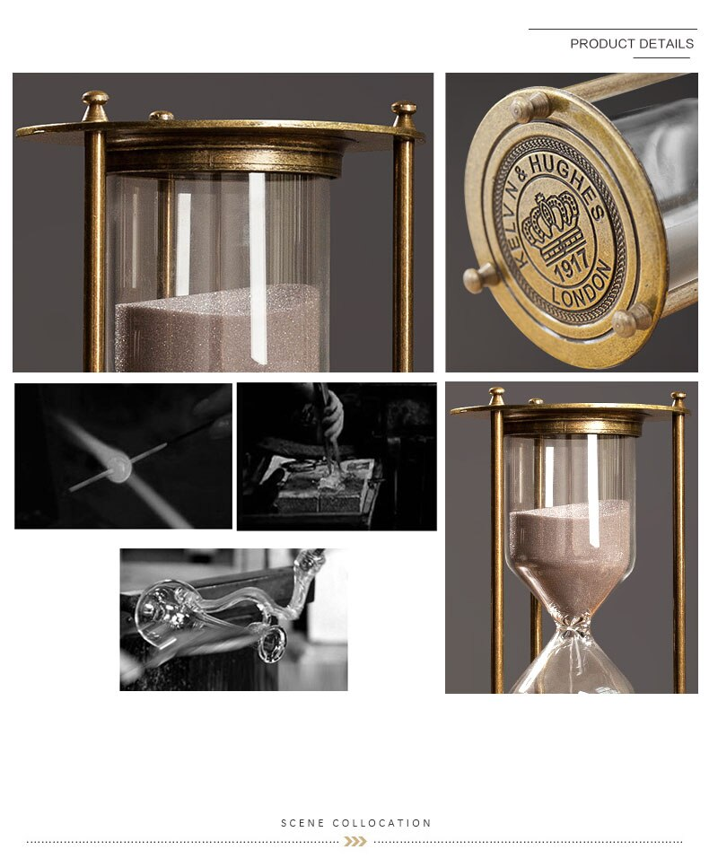Wooden Sandglass Metal Sand Hourglass 15/30/60 Minute Countdown Timer Clock Golden Timing Adornment Desk Decoration Home Decor