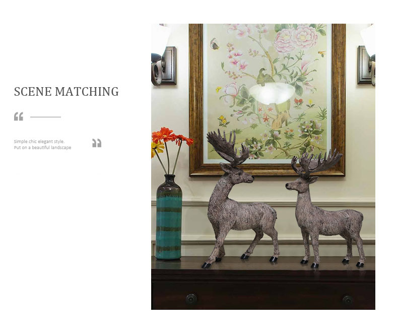 American Lucky Deer Home Decoration Creative Model Room Study Office Living Room TV Cabinet Decoration