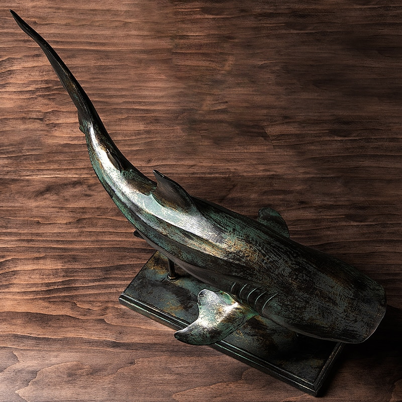 American Retro Simulation Shark Crafts Decoration Home Livingroom Animal Statue Ornaments Office Desktop Figurines Accessories