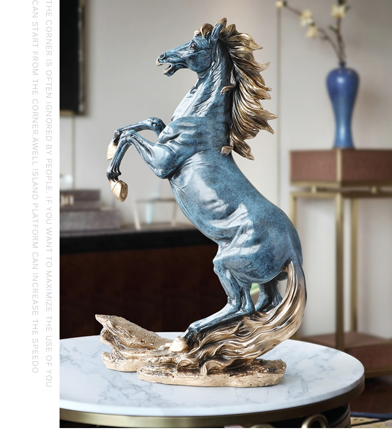 Vintage Oversized 58cm High Horse Animal Decoration Resin Carving Sculpture Craft White Horse Figurines Home Decor Birthday Gift