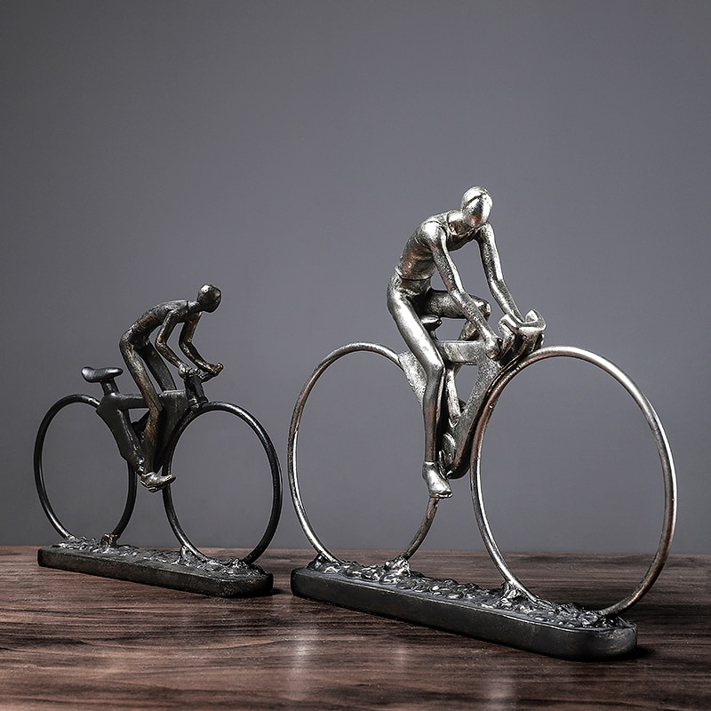 Resin Cycling Abstract Character Statues Figurines Ornaments Sculpture Crafts Home Office Decoration Accessories Wedding Gift
