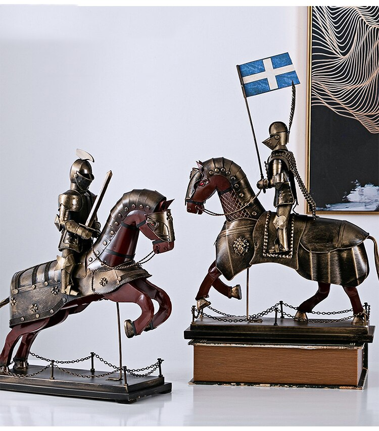European Medieval Roman Armor Man Soldier Model Retro Knight Sculpture Statue Decoration Office Home Crafts Figurine Ornament