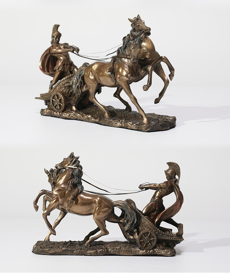 Retro Greek Mythology Ancient Roman Chariot Statue Home Crafts Room Decor Spartan Warrior In A Carriage Objects Office Sculpture