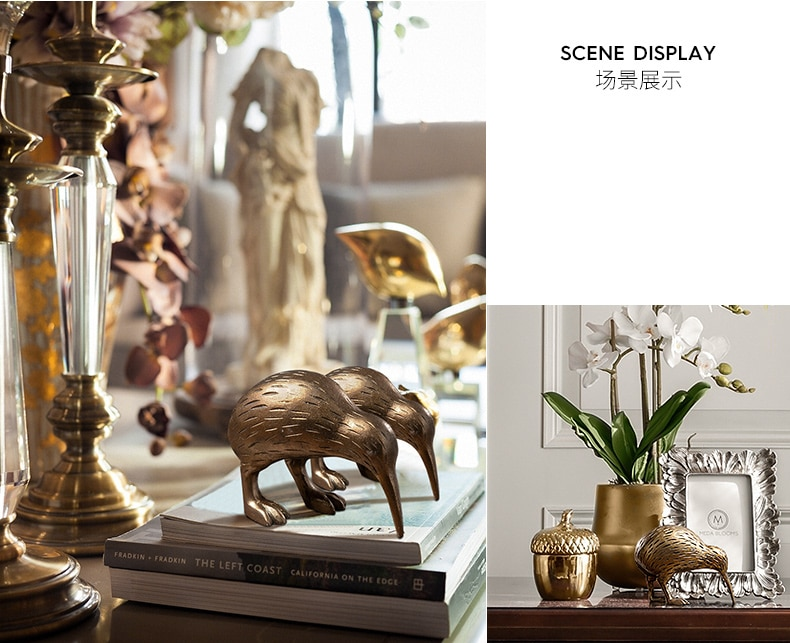 American Creative Wingless Bird Animal Statue Decoration Home Living Room Wine Cabinet Office Decorations Furnishings Crafts