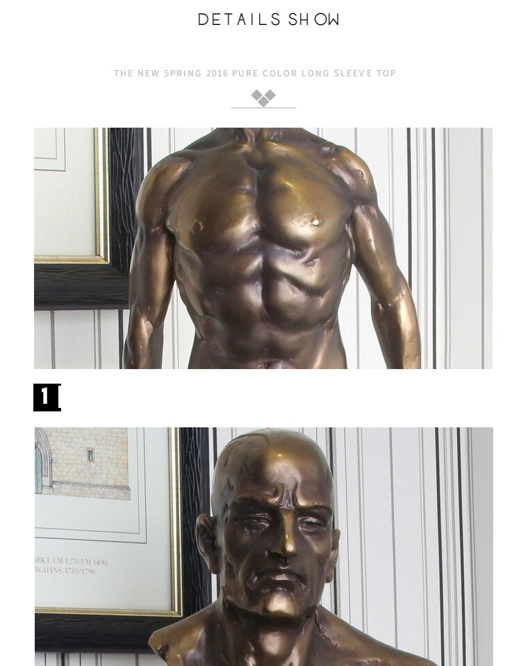 Retro Strong Portrait Character Statue Electroplated Copper Color Resin Craftwork Art For Decoration Home Decoration Accessories