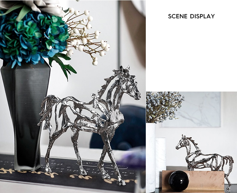 Home Decoration Accessories Abstract Silver Alloy Horse Frame Figurine Statues Sculpture Ornament Alloy Animal Craft Art Gifts