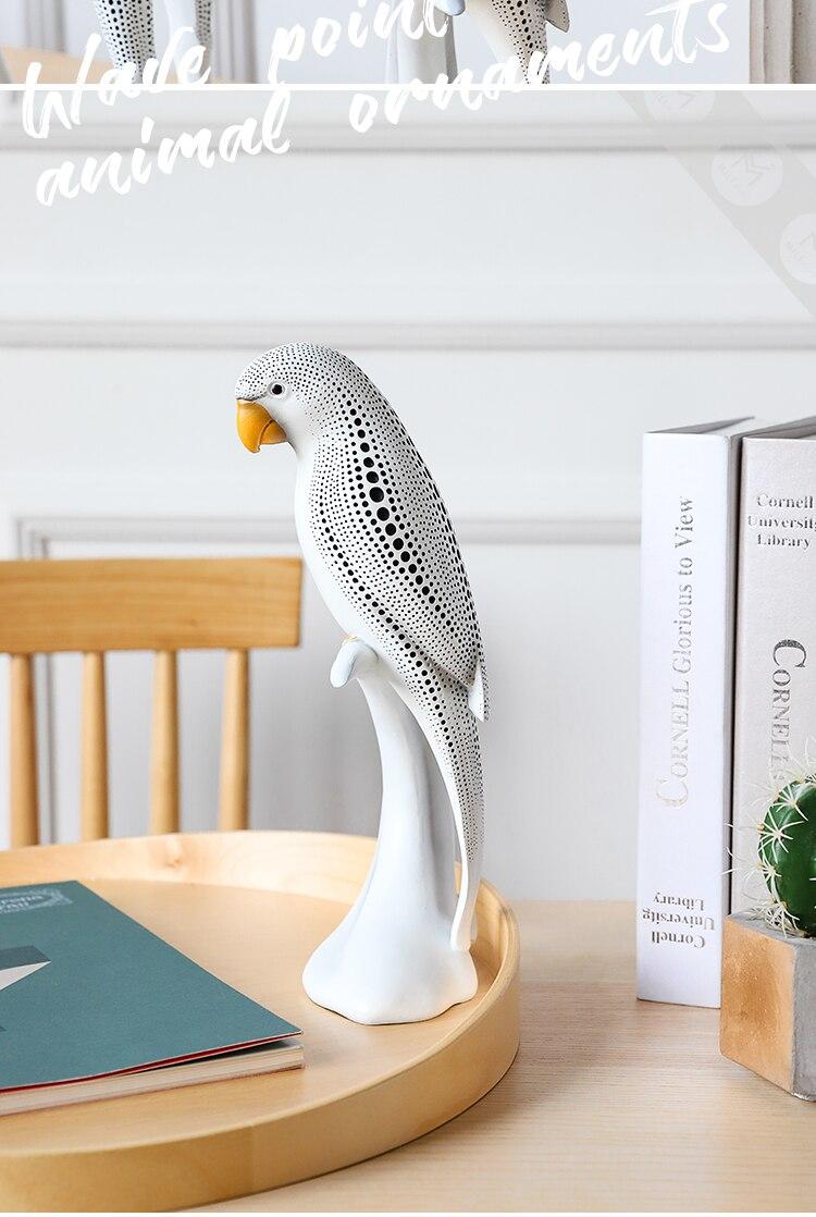 Modern Dense Black Dots Animal Parrot Deer Figurines Angel Girls Resin Crafts Decoration Handicraft Ornament Wedding Gift