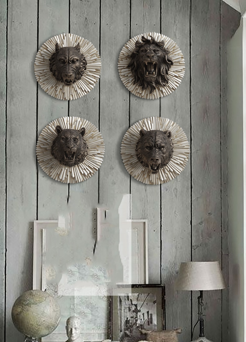 Home Statue Decoration Accessories Vintage King Kong Tiger Head Sculpture Room Wall Decor Resin Animal American Bear Wolf Statue