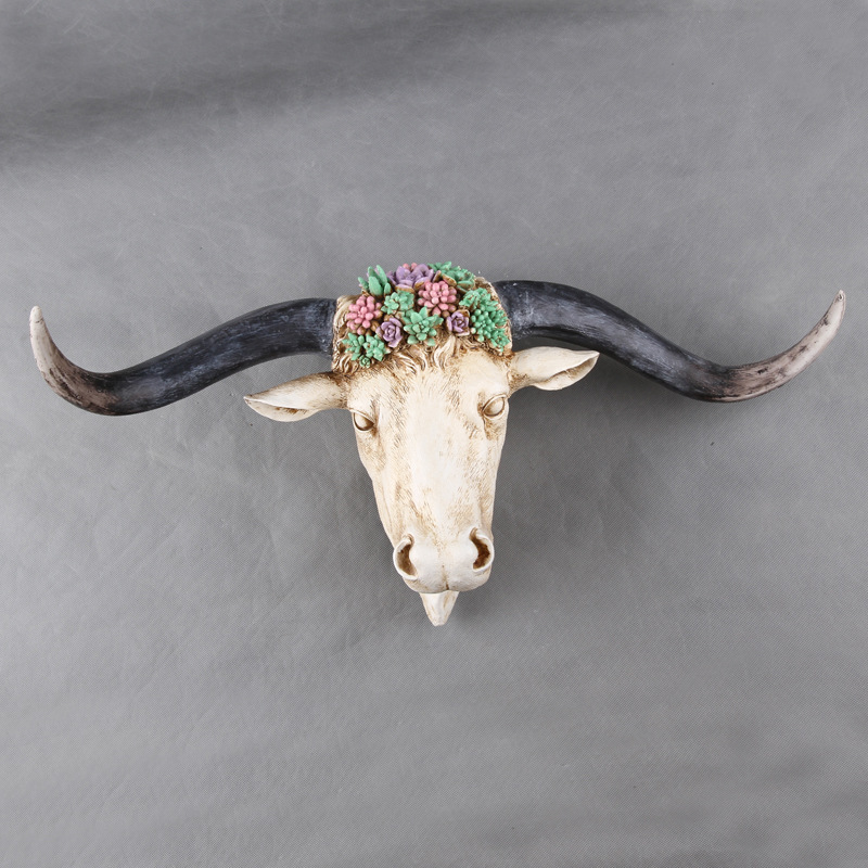 Home Statue Decor Accessories Vintage Overgrown With Green Succulents Cow Antelope Skull Room Animal Wall Decor Resin Statues