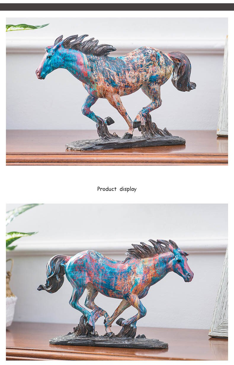 Modern Oil Painting Texture Running Cow And Horse Sculpture Abstract Sculpture Animal Statues for Home Decoration Accessories