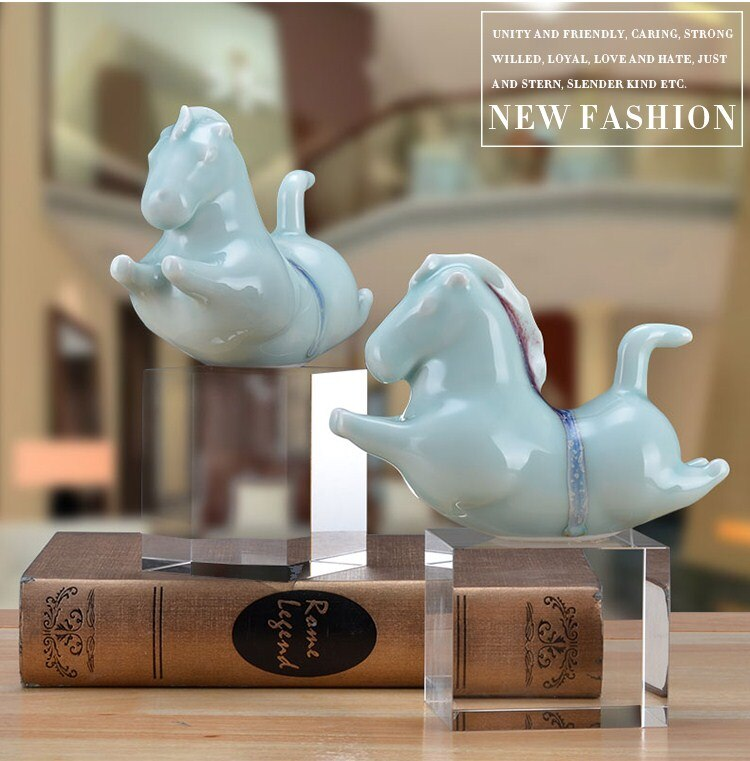 Chinese Running Horse Statue Sculpture Home Decoration Accessories Desk Squar Crystal Figurine Home Decor Ornament Wedding Party