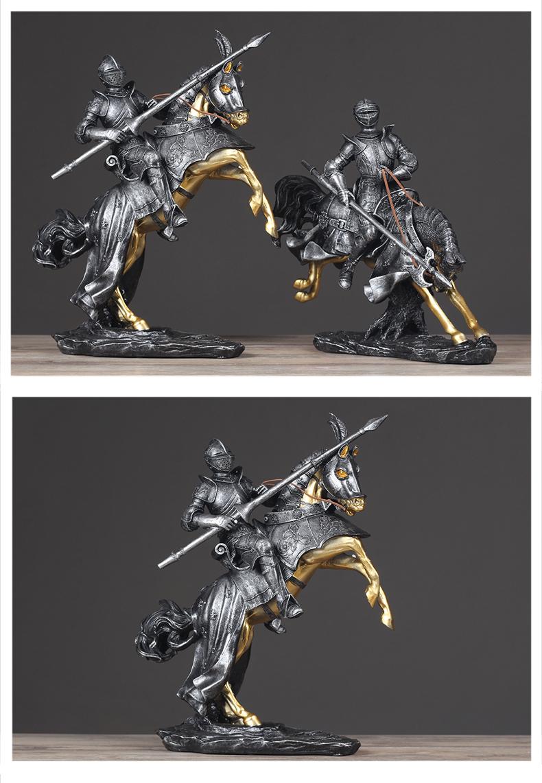 Medieval Resin Armor Knight Statue Retro Sculpture Resin Statuette Home Decor Art Gift Figurines Home Decoration Accessories