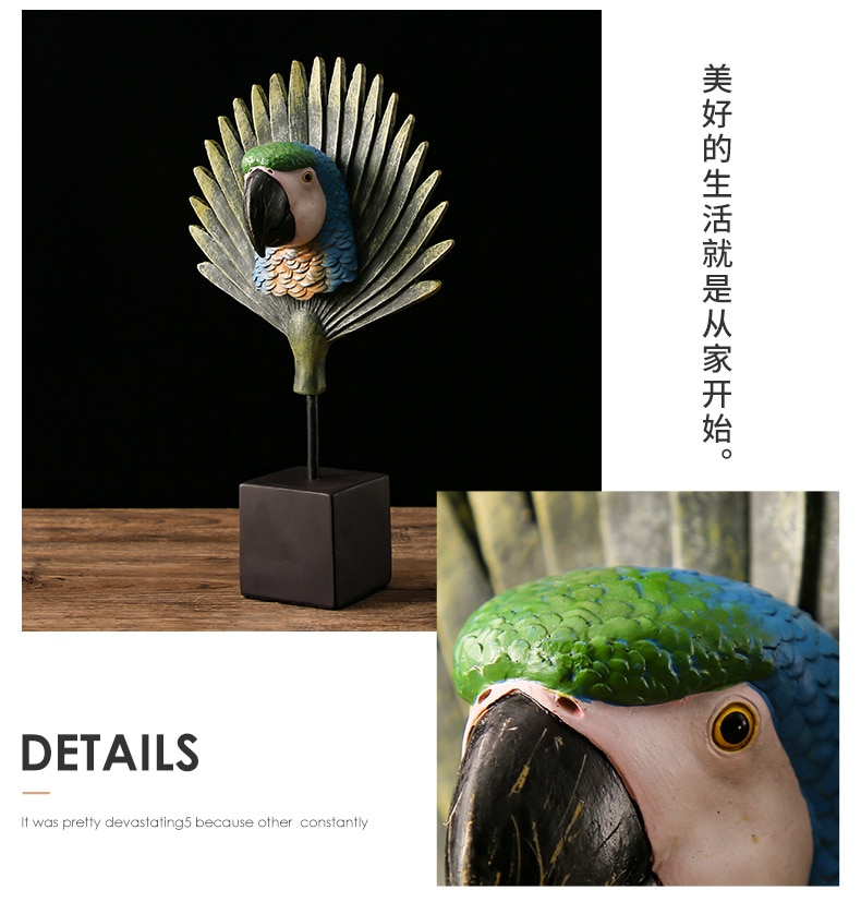 Resin Corful Parrot Figurines Miniature Crafts Creative Parrot Sculpture Statue Desk Home Decor Business Wedding Gifts