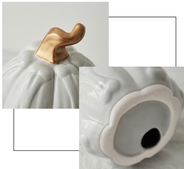 Gold White Ceramic Pumpkin Statue Sculpture Home Decoration Accessories Desk Plant Porcelain Figurine Ornament For Wedding Party