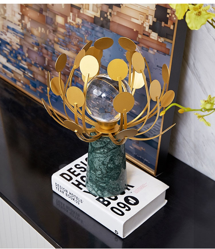 Home Decoration Accessories Art Glass Ball Decoration Figurine Living Room Green Marble Ornament Gift