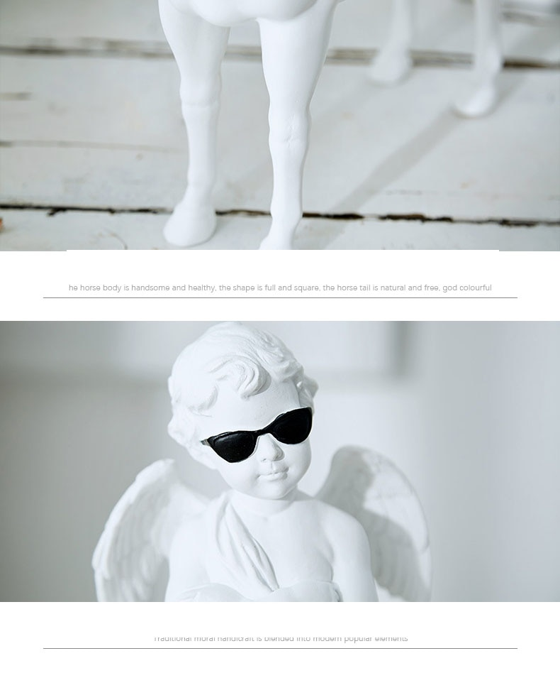 Angel Boy Wearing Black Glasses Home Decor Accessories Figurine Living Room Ornament Objects Office Resin Gift