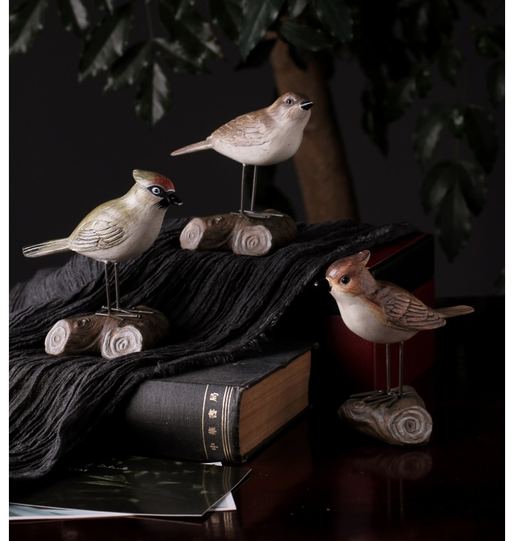 Leearts Vintage Bird Stand On A Branch Sculpture Miniatures Figurine Resin Crafts Desktop Home Decoration Accessories Gift Kids