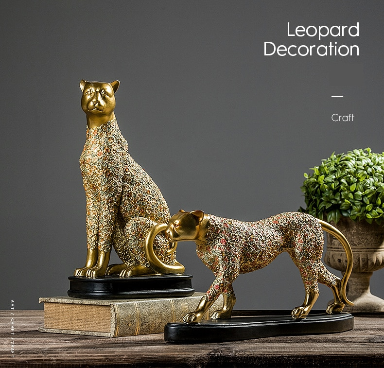 Creative Golden Fierce Leopard Vintage Statue Home Decor Wild Animals Crafts Room Decoration Objects Office Resin Figurines