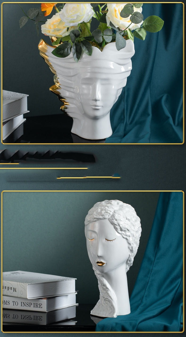 Creative Abstract Beethoven Head Vase Decorative Golden White Ceramic Crafts Flower Vases For Home Living Room Wedding Decor