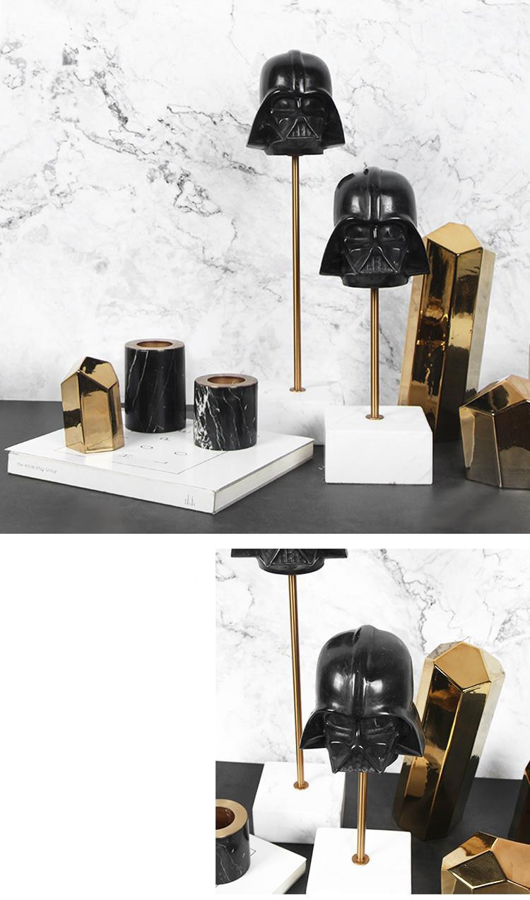 Home Decoration Accessories Black Skull Statue Decoration Figurine Living Room Ornament Objects Office Marble Gift