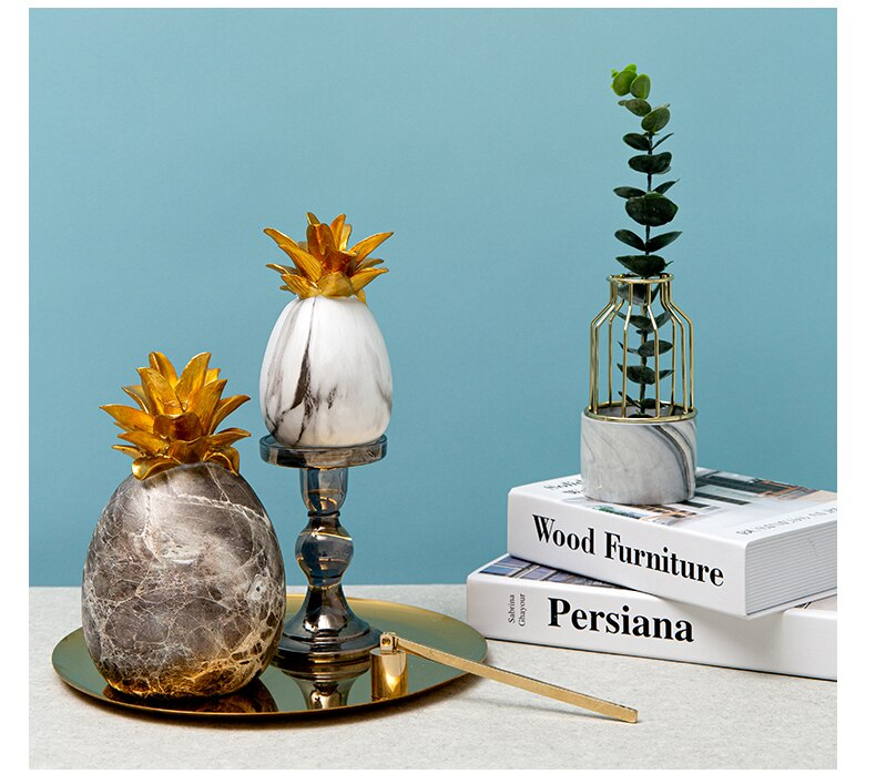 Creative Marble Texture Pineapple Crafts Home Sculpture Escultura Decor Accessories Gift For Desktop Tropical Fruit Ornaments