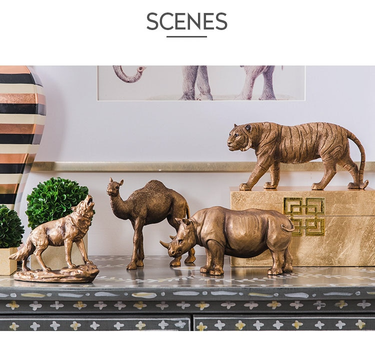 Creative Gold Rhinoceros Wolf Tiger Camel Vintage Statue Home Decor Crafts Room Decoration Objects Wild Animals Resin Figurines