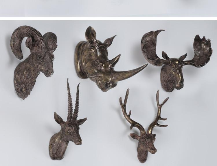 Retro Rhino Antelope Elk Head Sculture Living Room Background Wall Decoration Accessorise Hanging Animal Figure Statue Escultura