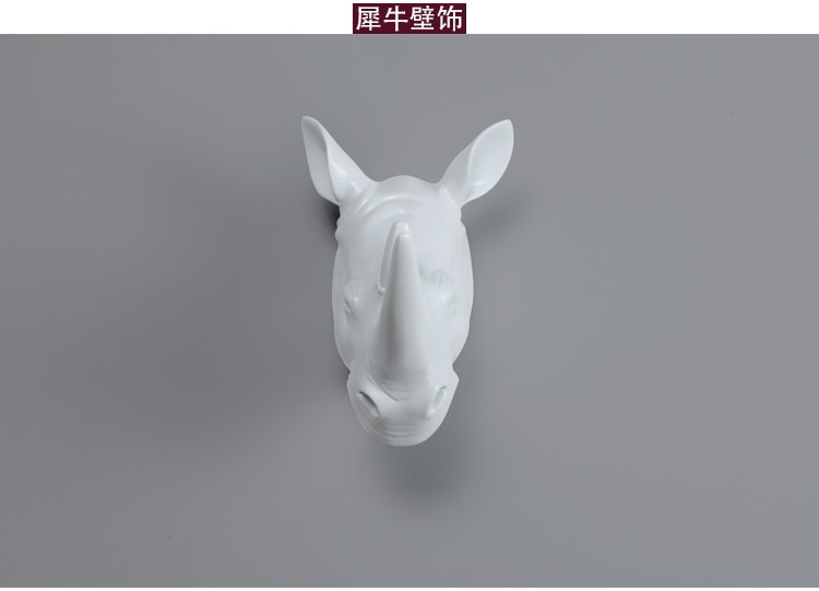 Retro Rhino Antelope Elk Head Sculture Living Room Background Wall Decoration Accessorise Hanging Animal Figure Statue Escultura