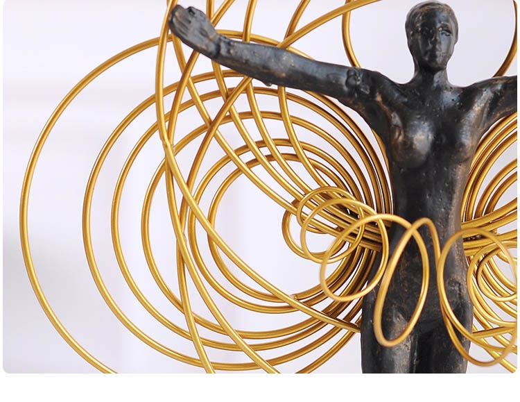 Black Metal Moving Figure In Hula Hoop Decorations For Home Sculpture Escultura Home Decor Marble Accessories Gifts