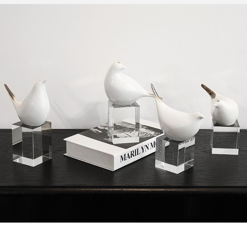 Nordic Geometric Ceramic Bird Abstract Sculpture Figurine Ornaments Home Decor Accessories Modern Art Crystal Craft Wedding Gift
