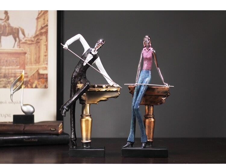 Simulation Man Woman Playing Billiard Figurine Home Decor Miniature Fairy Garden Decoration Accessories Modern