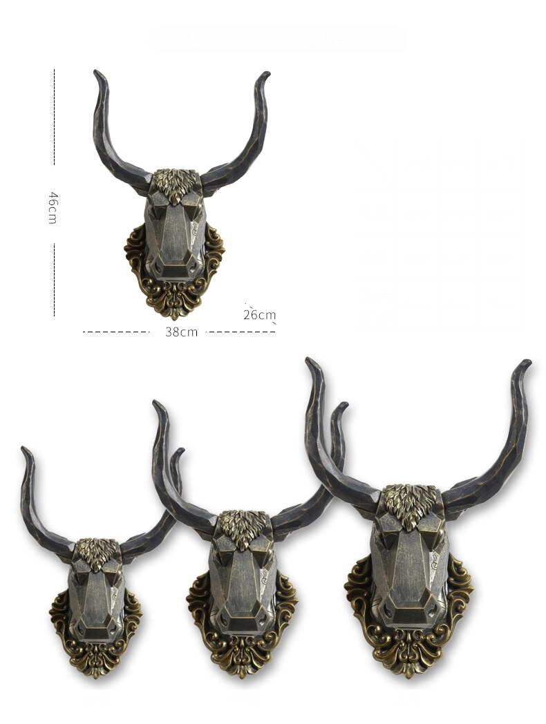 Bronze Color Origami Animal Head Sculpture Home Decoration Accessories Rhino Antelope Elk Horse Head Statue Room Wall Decor