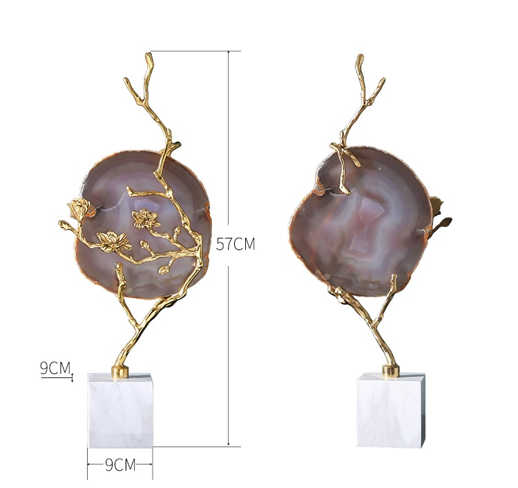 Flowering Gold Tree With Natural Agate Flakes Furnishings Ornaments Marble Craft For Home Living Room Decor Desktop Figurines