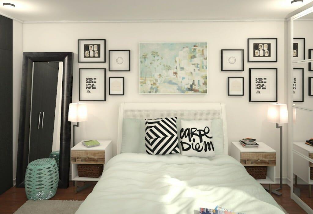 يساعد التصميم الداخلي عبر الإنترنت لغرفة نوم حديثة