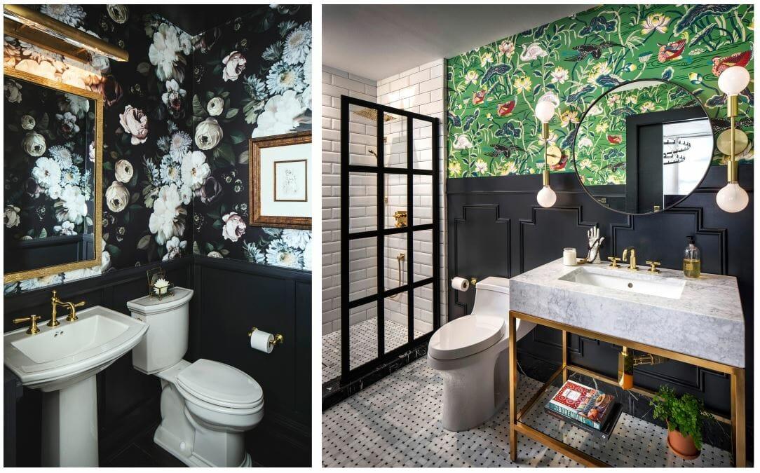 خلفية الأزهار في الحمام مصمم ديكور corine م