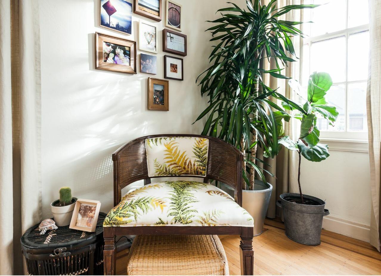 منطقة الجلوس مع النباتات من قبل مصمم الديكور decorine m