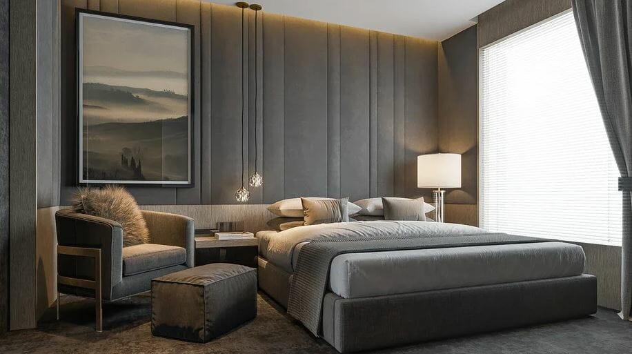 تصميم غرفة نوم ذكورية تقديم الديكور على الإنترنت
