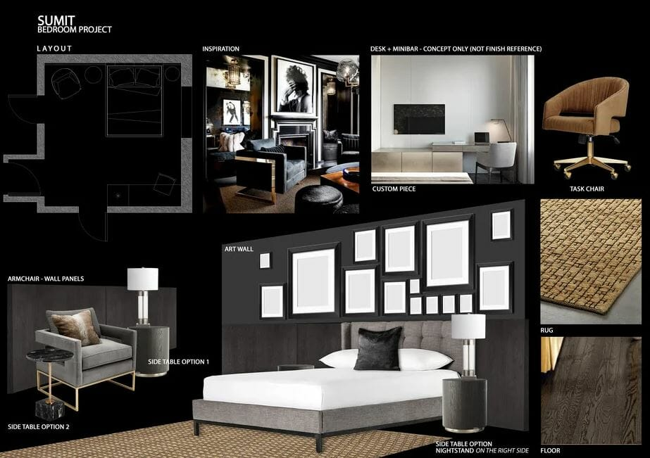 تصميم غرفة نوم على الانترنت - decorilla moodboard