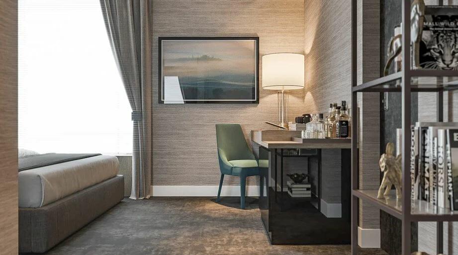 غرفة نوم تصميم منطقة جلوس عبر الإنترنت