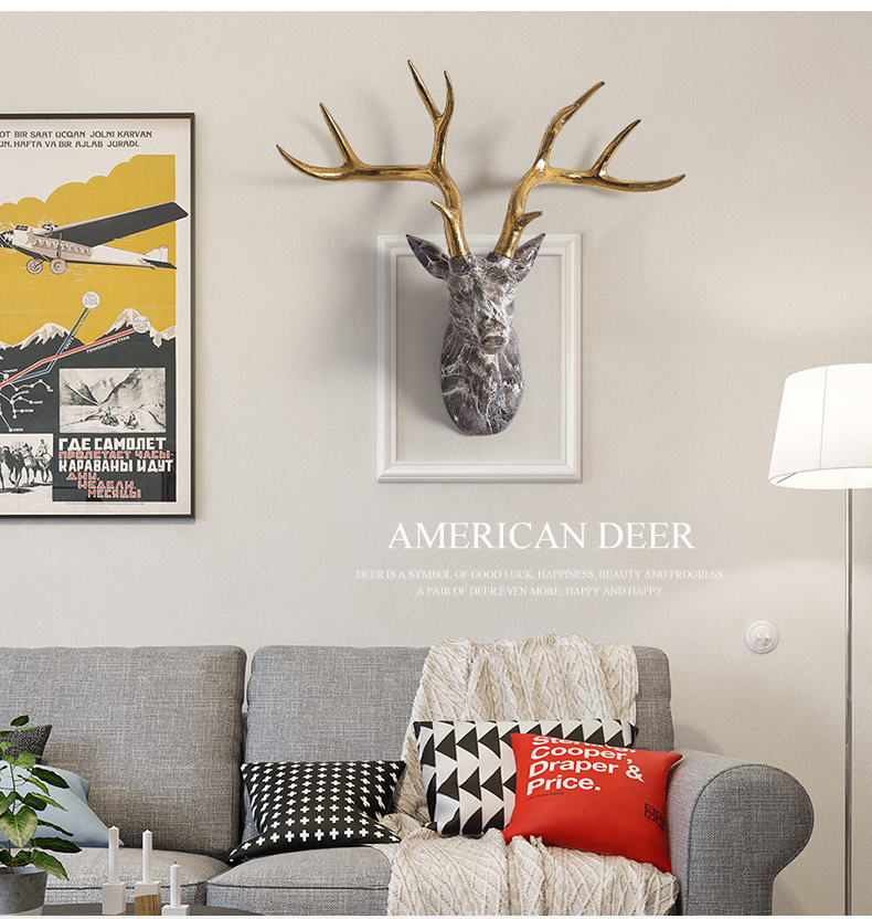 Nordic Home Living Room Background Wall Hanging Marble Texture Deer Head Wall Sculpture Golden Antlers Hotel Wall Decor Statue