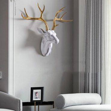 تمثال رأس الغزال البري الرخامي الفاخر اكسسوارات جدارية