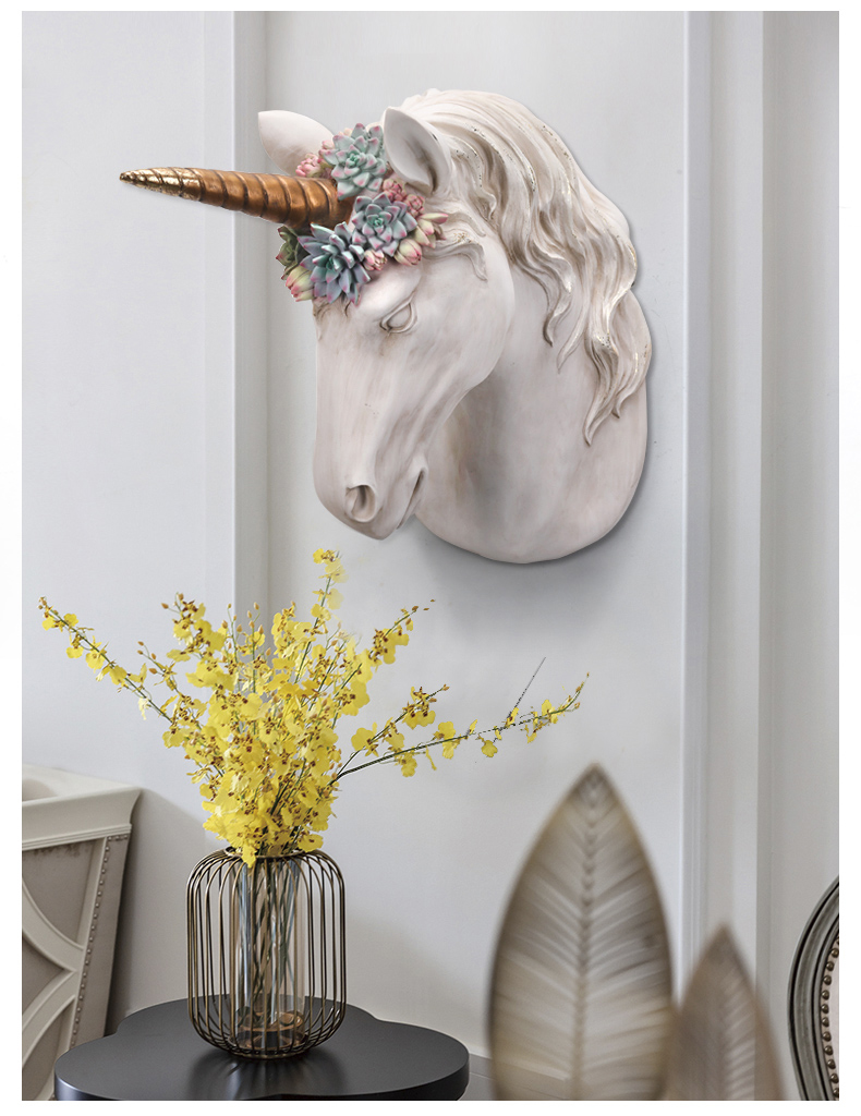 34cm Overgrown With Green Succulents Animal Skull Unicorn Head Wall Decoration Head Resin Wall Ornament Xmas Gift Creative Gift