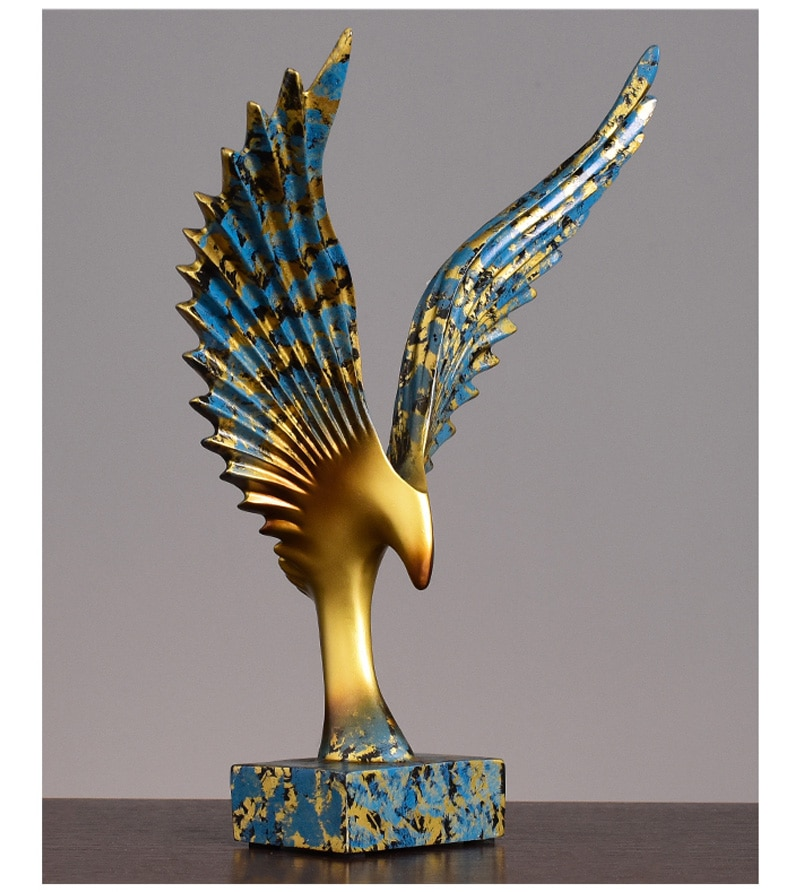 Abstract Eagle Spread Wings Gold & Blue Figurines Living Room Fengshui Decoration Figurines Resin Crafts Office Decor Ornament