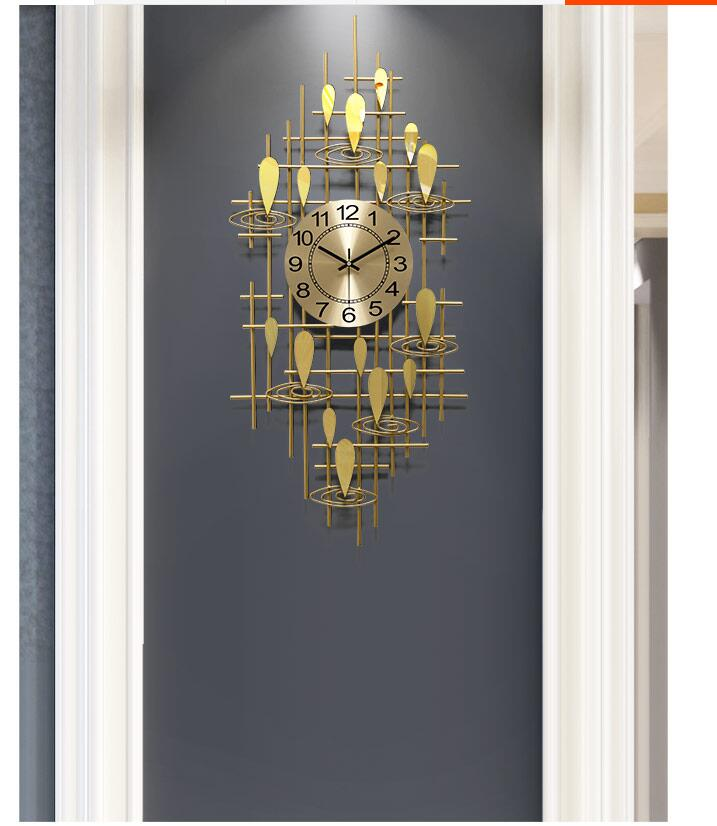 European Luxury Wrought Iron 3D Wall Clocks Home Livingroom Wall Mural Crafts Hotel Office Wall Sticker Metal Clock Decoration
