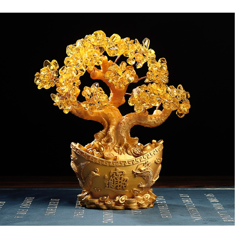 Fengshui Crystal Lucky Tree Home Decoration Ornaments Gold Ingot Miniature Model Opening Decoration Accessories Wedding Gifts