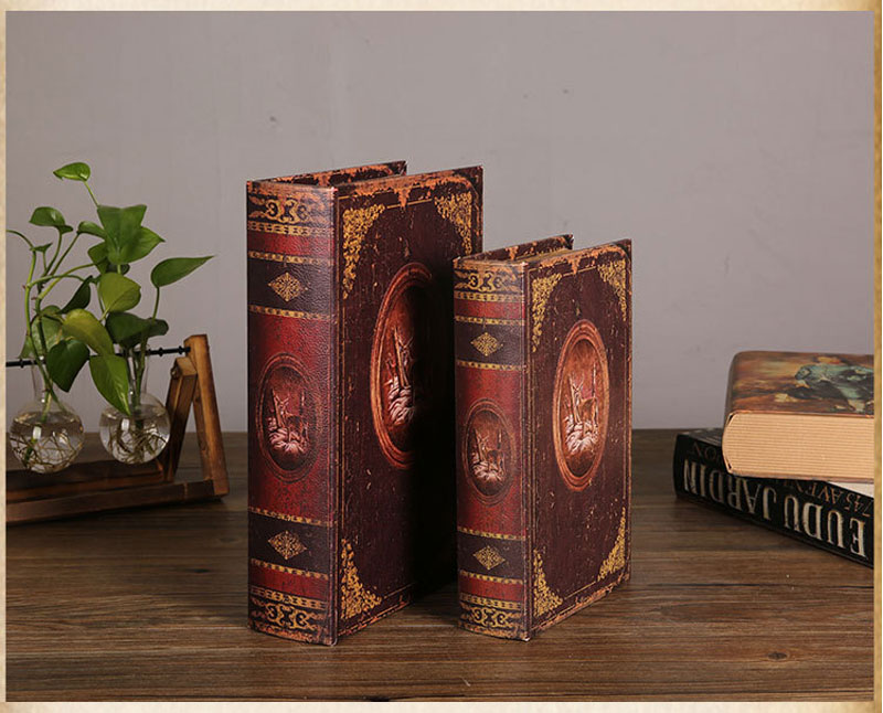 Vintage Book Model Sundries Container Box Home Decoration Figurines Study Room Decoration Office Decor Ornaments Photograph Prop