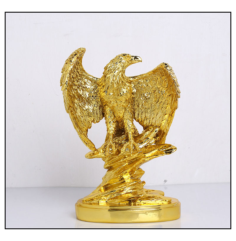Gold Color Eagle Ornaments Spread Wings Eagle Trophy Figurines Crafts Home Office Decoration Resin Animal Miniature Model Gifts