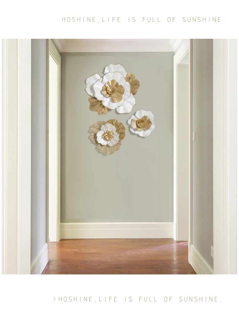 Modern Wrought Iron Flower Wall Decoration Pendant Livingroom Background Wall Hanging Ornaments Hotel Porch Wall Mural Craft Art