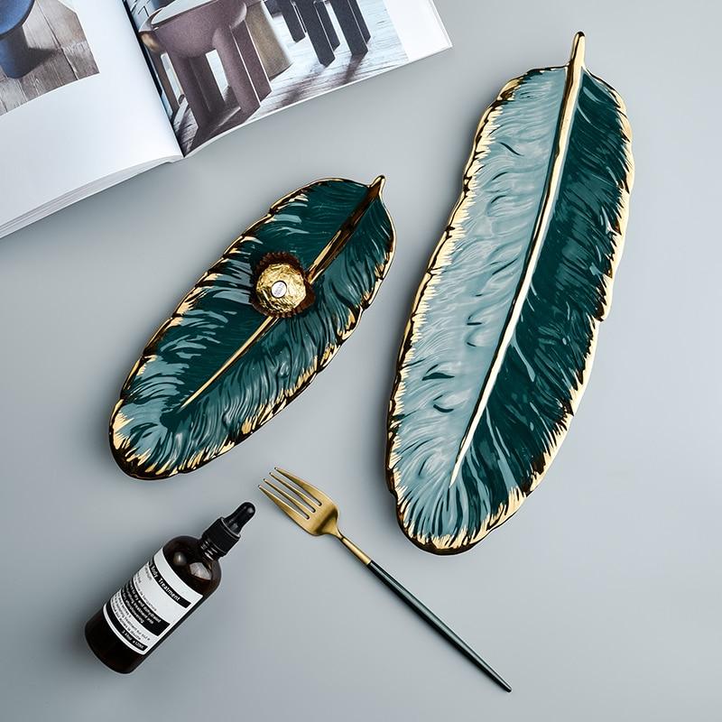 Luxury Ceramic Platter Storage Tray with Glod Rim Green Leaf Glod Feather Jewelry Makeup Brush Storage Decorative Sushi Plate
