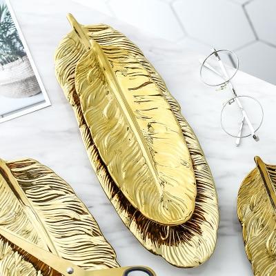 تمثال سيراميك الورق الاخضر المطلي بالذهب اكسسوارات منزلية